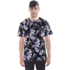 Flourish Floral Purple Grey Black Flower Men s Sport Mesh Tee by Alisyart