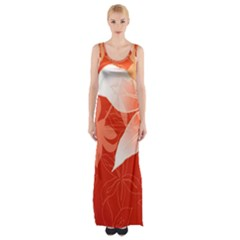 Lily Flowers Graphic White Orange Maxi Thigh Split Dress by Alisyart