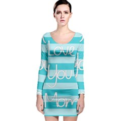 Love You Mom Stripes Line Blue Long Sleeve Bodycon Dress by Alisyart