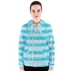 Love You Mom Stripes Line Blue Women s Zipper Hoodie by Alisyart
