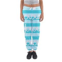 Love You Mom Stripes Line Blue Women s Jogger Sweatpants