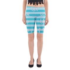 Love You Mom Stripes Line Blue Yoga Cropped Leggings by Alisyart