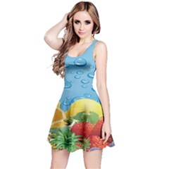 Fruit Water Bubble Lime Blue Reversible Sleeveless Dress