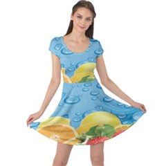 Fruit Water Bubble Lime Blue Cap Sleeve Dresses by Alisyart