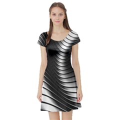 Metallic Waves Short Sleeve Skater Dress