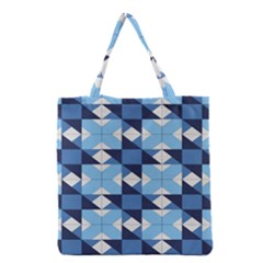 Radiating Star Repeat Blue Grocery Tote Bag