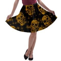 Sparkling Glitter Skulls Golden A Line Skater Skirt by ImpressiveMoments
