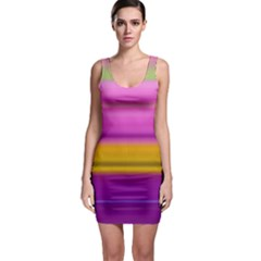 Stripes Colorful Background Colorful Pink Red Purple Green Yellow Striped Wallpaper Sleeveless Bodycon Dress by Simbadda