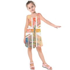 Union Jack Abstract Watercolour Painting Kids  Sleeveless Dress by Simbadda