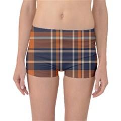 Tartan Background Fabric Design Pattern Boyleg Bikini Bottoms by Simbadda