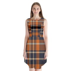 Tartan Background Fabric Design Pattern Sleeveless Chiffon Dress   by Simbadda