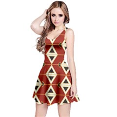 Triangle Arrow Plaid Red Reversible Sleeveless Dress by Alisyart