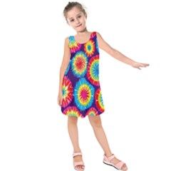 Tie Dye Circle Round Color Rainbow Red Purple Yellow Blue Pink Orange Kids  Sleeveless Dress by Alisyart