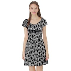 X Ray Rendering Hinges Structure Kinematics Circle Star Black Grey Short Sleeve Skater Dress