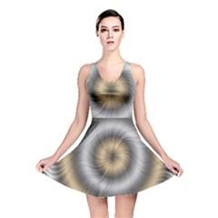 Prismatic Waves Gold Silver Reversible Skater Dress