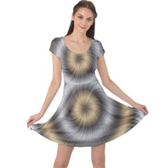 Prismatic Waves Gold Silver Cap Sleeve Dresses