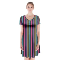 Stripes Colorful Multi Colored Bright Stripes Wallpaper Background Pattern Short Sleeve V Neck Flare Dress by Simbadda