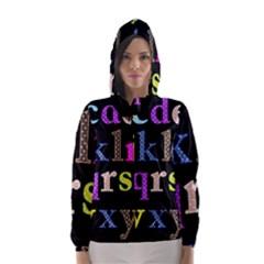 Alphabet Letters Colorful Polka Dots Letters In Lower Case Hooded Wind Breaker (women) by Simbadda