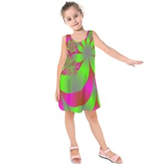 Green And Pink Fractal Kids  Sleeveless Dress by Simbadda