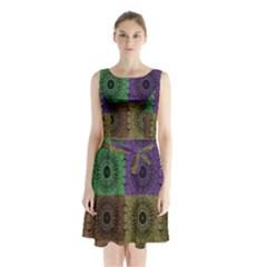 Creative Digital Pattern Computer Graphic Sleeveless Chiffon Waist Tie Dress by Simbadda