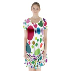 Color Ball Short Sleeve V-neck Flare Dress by Mariart