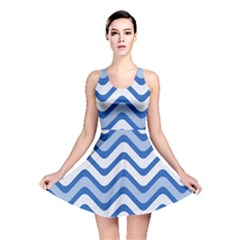 Background Of Blue Wavy Lines Reversible Skater Dress by Simbadda