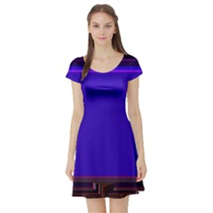 Blue Fractal Square Button Short Sleeve Skater Dress