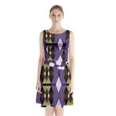 Geometric Abstract Background Art Sleeveless Chiffon Waist Tie Dress by Simbadda