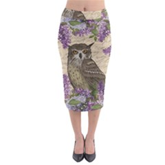 Vintage Owl And Lilac Midi Pencil Skirt by Valentinaart