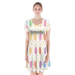 Balloon Star Rainbow Short Sleeve V Neck Flare Dress by Mariart