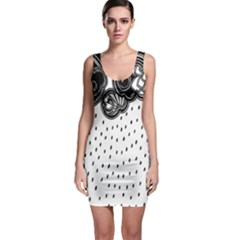 Batik Rain Black Flower Spot Sleeveless Bodycon Dress by Mariart