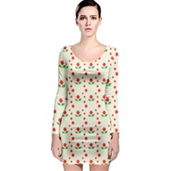 Flower Floral Sunflower Rose Star Red Green Long Sleeve Bodycon Dress