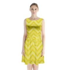 Zig Zags Pattern Sleeveless Chiffon Waist Tie Dress by Valentinaart