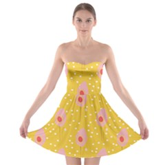 Flower Floral Tulip Leaf Pink Yellow Polka Sot Spot Strapless Bra Top Dress by Mariart