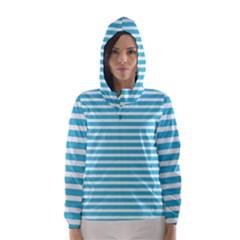 Horizontal Stripes Blue Hooded Wind Breaker (women) by Mariart