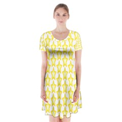 Yellow Orange Star Space Light Short Sleeve V Neck Flare Dress by Mariart