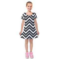 Zig Zags Pattern Kids  Short Sleeve Velvet Dress by Valentinaart
