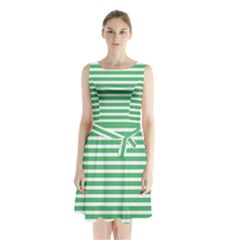 Horizontal Stripes Green Sleeveless Chiffon Waist Tie Dress by Mariart