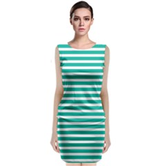 Horizontal Stripes Green Teal Sleeveless Velvet Midi Dress by Mariart