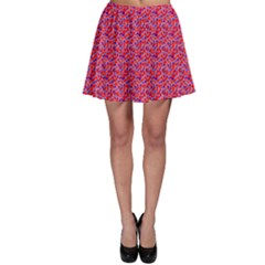 Red White And Blue Leopard Print  Skater Skirt by PhotoNOLA