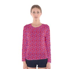 Red White And Blue Leopard Print  Women s Long Sleeve Tee by PhotoNOLA