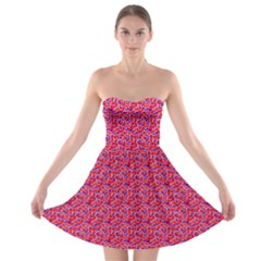 Red White And Blue Leopard Print  Strapless Bra Top Dress by PhotoNOLA