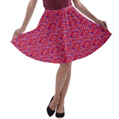 Red White And Blue Leopard Print  A Line Skater Skirt by PhotoNOLA