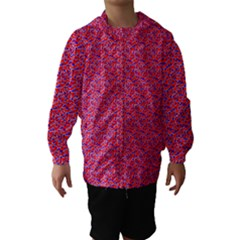 Red White And Blue Leopard Print  Hooded Wind Breaker (kids) by PhotoNOLA