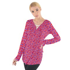 Red White And Blue Leopard Print  Women s Tie Up Tee by PhotoNOLA