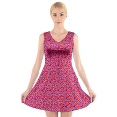 Red White And Blue Leopard Print  V Neck Sleeveless Skater Dress by PhotoNOLA