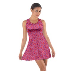 Red White And Blue Leopard Print  Cotton Racerback Dress by PhotoNOLA
