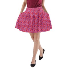 Red White And Blue Leopard Print  A Line Pocket Skirt by PhotoNOLA
