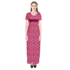 Red White And Blue Leopard Print  Short Sleeve Maxi Dress by PhotoNOLA