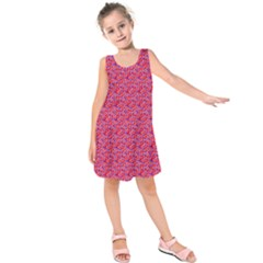 Red White And Blue Leopard Print  Kids  Sleeveless Dress by PhotoNOLA